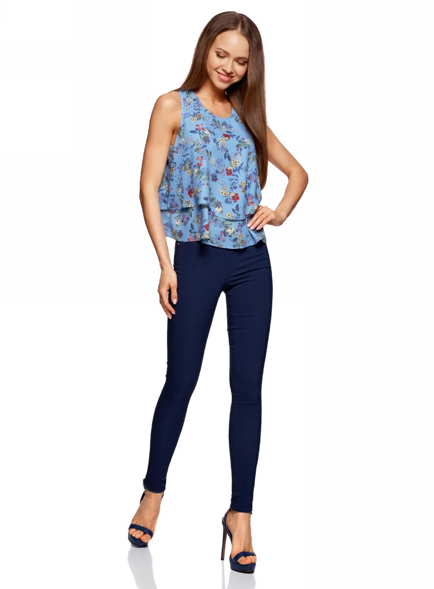 Блузка жен oodji Ultra, цвет: синий, мультиколор, цветы. 11411162/46796/7519F. Размер 36-170 (42-170)11411162/46796/7519FТоп двуслойный из струящейся ткани