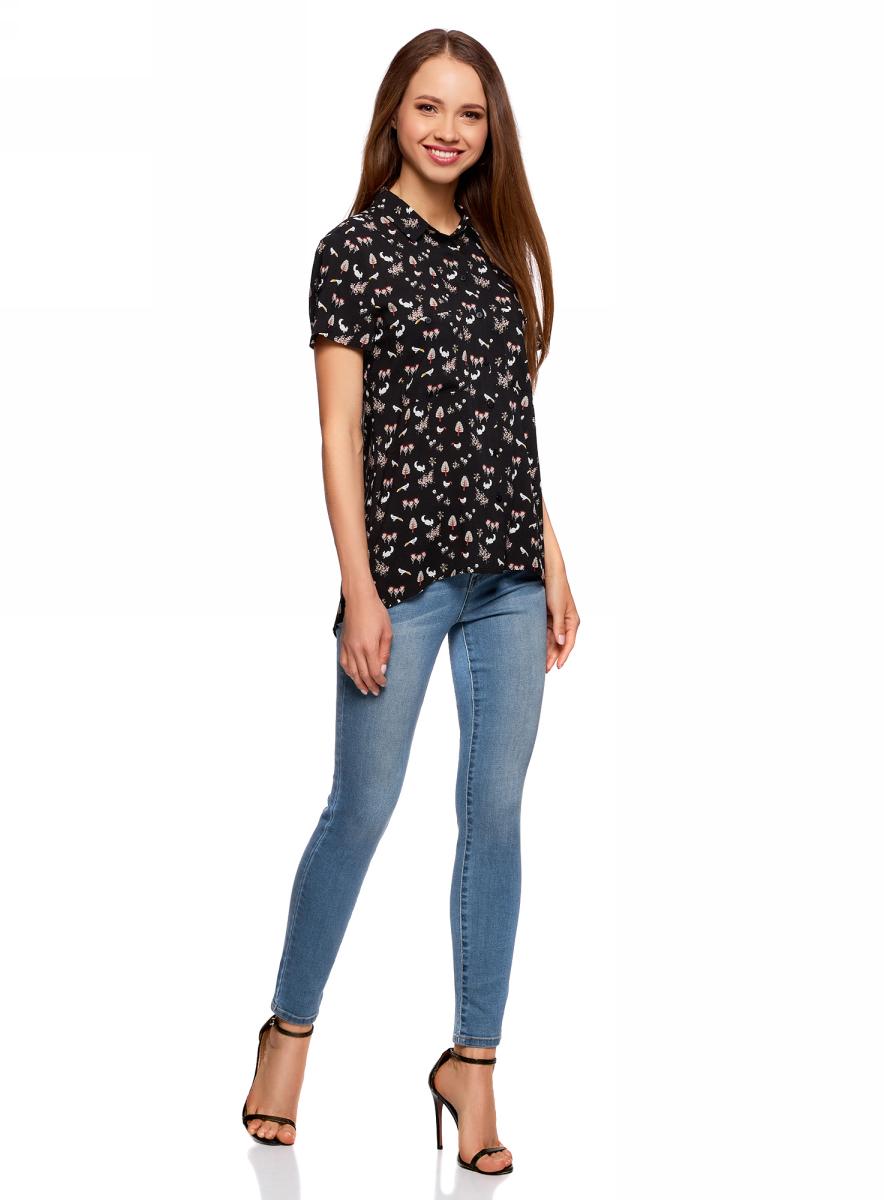 Блузка жен oodji Ultra, цвет: черный, белый. 11400391-3B/24681/2912Q. Размер 36-170 (42-170)11400391-3B/24681/2912QБлузка из вискозы с нагрудными карманами