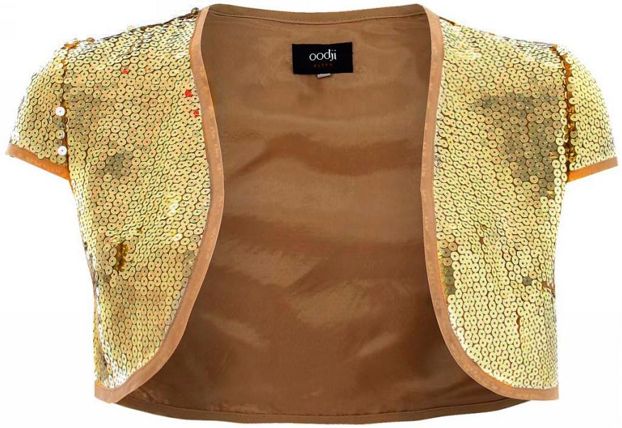 Болеро женское oodji Ultra, цвет: светло-золотой металлик. 11200200M/26386/9700X. Размер 42-170 (48-170)11200200M/26386/9700XБолеро от oodji с короткими рукавами выполнено из высококачественного материала с пайетками.