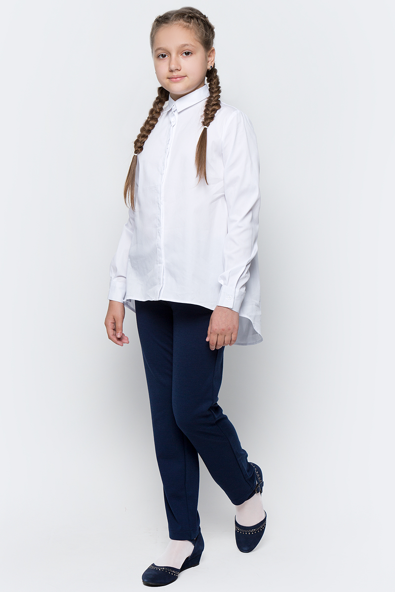 Блузка для девочки Button Blue, цвет: белый. 217BBGS22010200. Размер 140, 10 лет217BBGS22010200Блузка для девочки - основа повседневного школьного образа! Актуальная трапециевидная форма, удлиненная линия спинки сделает образ школьницы новым, свежим и необычным!Блузка изготовлена из качественной смесовой ткани. Модель с длинными рукавами и отложным воротником застегивается на пуговицы.