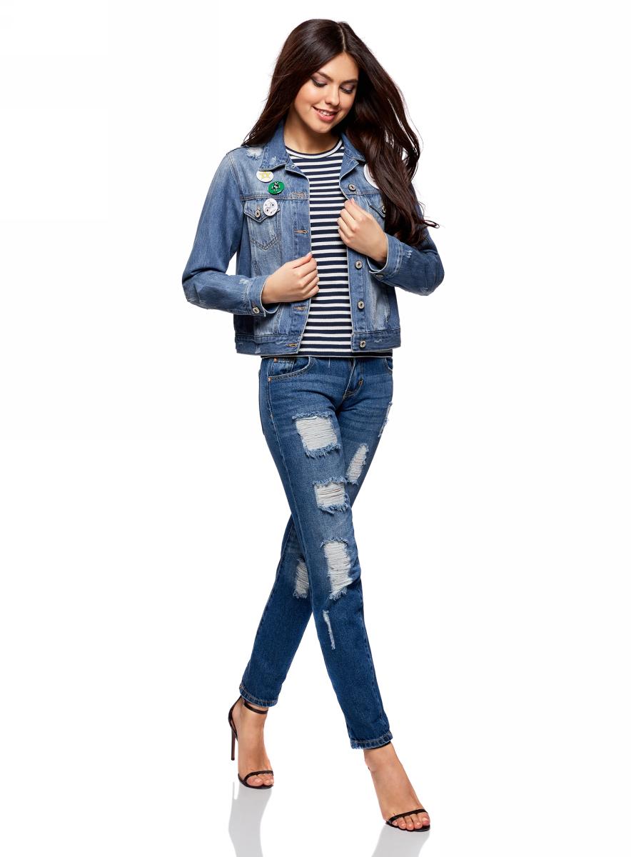 Куртка джинсовая женская oodji Ultra, цвет: синий джинс. 11109031/46654/7500W. Размер 38-170 (44-170)11109031/46654/7500WКуртка джинсовая от oodji со значками выполнена из натурального хлопка. Модель с длинными рукавами и отложным воротником застегивается на пуговицы.