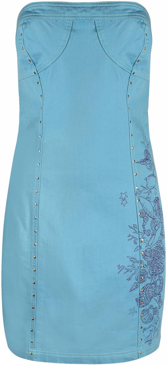 Платье oodji Ultra, цвет: голубой. 12908006M/24055/7000N. Размер 40 (46)12908006M/24055/7000NПлатье oodji изготовлено из качественного эластичного хлопка. Модель-мини облегающего кроя выполнена с открытым верхом и застегивается сзади на молнию. Платье декорировано оригинальным принтом и металлическими заклепками.