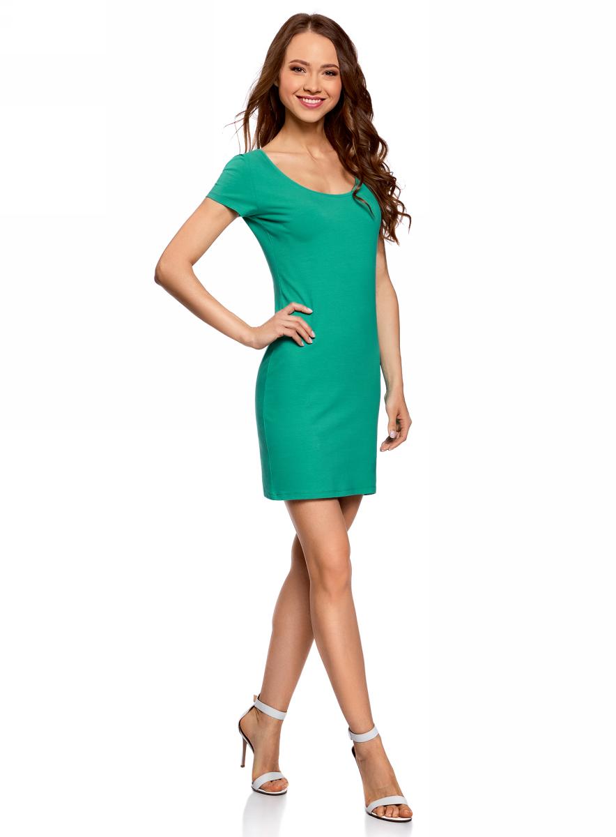 Платье oodji Ultra, цвет: изумрудный, белый. 14001182-2/47420/6D10P. Размер S (44)14001182-2/47420/6D10PПлатье oodji изготовлено из качественного эластичного хлопка. Модель-мини выполнена с короткими рукавами и круглым вырезом. Платье декорировано на спине оригинальным принтом.