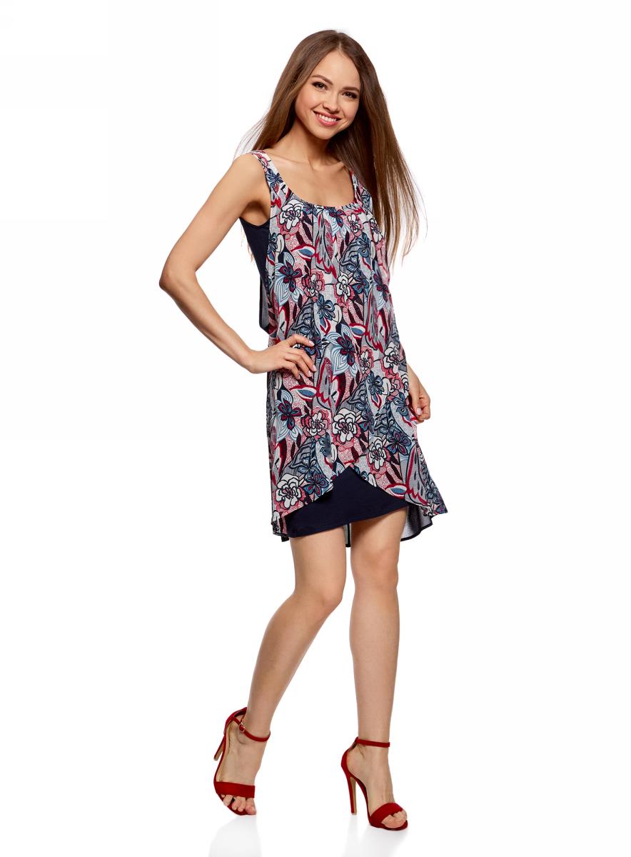 Платье жен oodji Ultra, цвет: красный, белый, цветы. 11911017/35271/4512F. Размер 38-170 (44-170)11911017/35271/4512FПлатье многослойное из комбинированной ткани