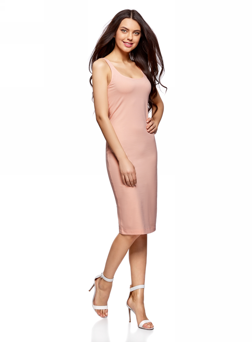 Платье oodji Ultra, цвет: персиковый, 2 шт. 14015007T2/47420/5400N. Размер S (44)14015007T2/47420/5400NПлатье-майка oodji изготовлено из качественного смесового материала. Модель-миди выполнена без рукавов и с глубоким круглым вырезом. В комплекте 2 платья.
