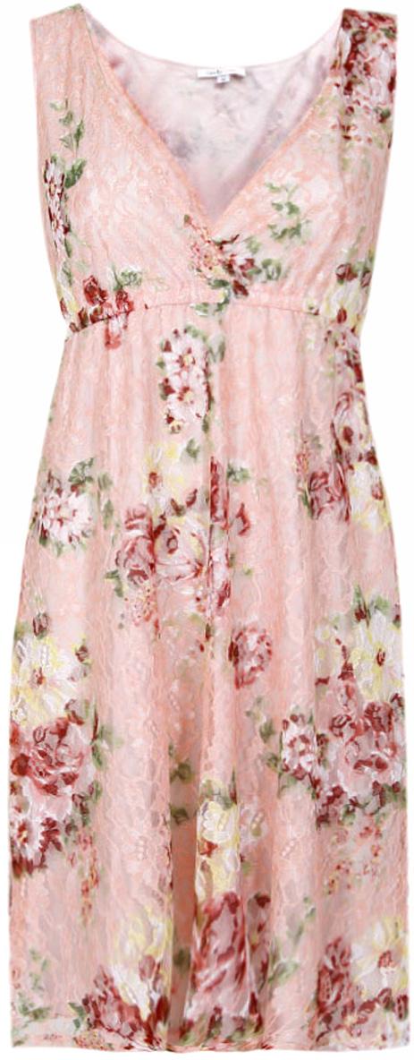 Платье oodji Ultra, цвет: светло-розовый, розовый. 11913001-1/26374/4041F. Размер 36-170 (42-170)11913001-1/26374/4041FПлатье oodji изготовлено из качественного полиэстера. Модель свободного кроя выполнена с глубоким V-образным вырезом и без рукавов.