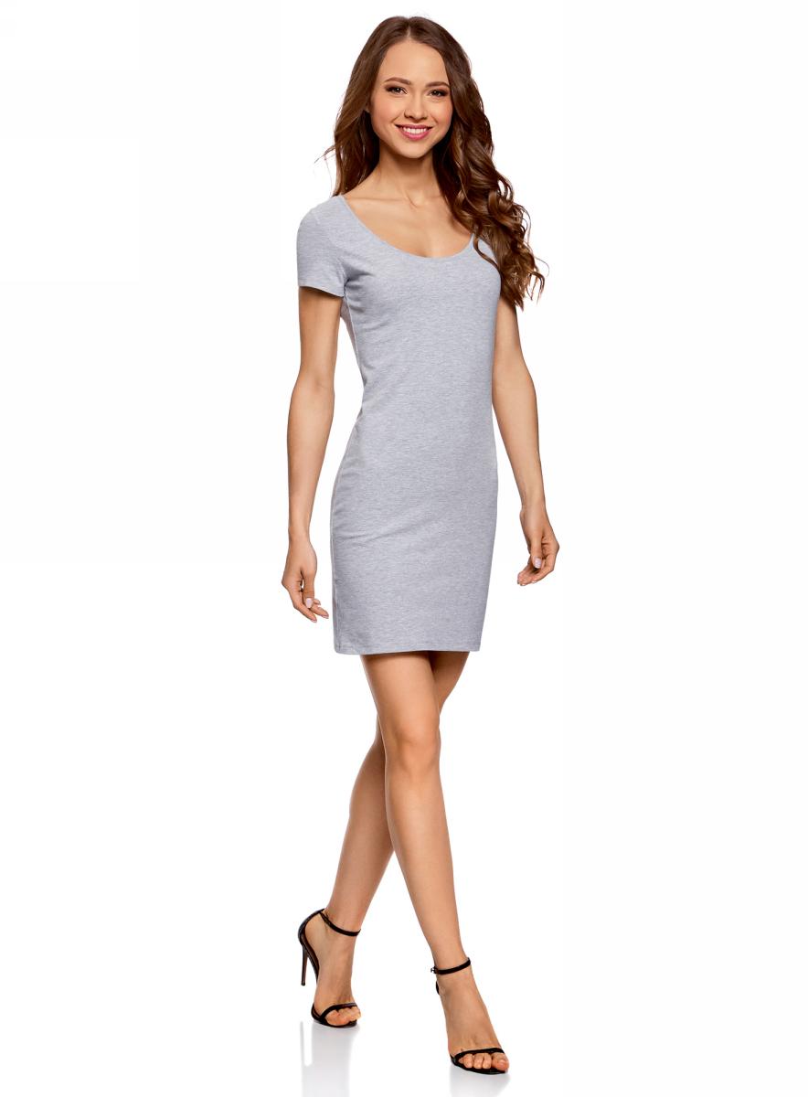Платье oodji Ultra, цвет: светло-серый, черный. 14001182-2/47420/2029Z. Размер M (46)14001182-2/47420/2029ZПлатье oodji изготовлено из качественного эластичного хлопка. Модель-мини выполнена с короткими рукавами и круглым вырезом. Платье декорировано на спине оригинальным принтом.