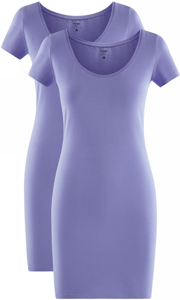 Платье oodji Ultra, цвет: сиреневый, 2 шт. 14001182T2/47420/8000N. Размер M (46)14001182T2/47420/8000NТрикотажное платье oodji изготовлено из качественного эластичного хлопка. Облегающая модель выполнена с круглым вырезом горловины и короткими рукавами. В комплекте - 2 платья.