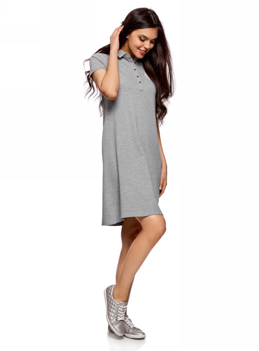 Платье oodji Collection, цвет: серый меланж. 24001118-3/47533/2300M. Размер L (48)24001118-3/47533/2300MПлатье-поло от oodji выполнено из ткани пике. Модель с короткими рукавами и отложным воротником на груди застегивается на пуговицы.