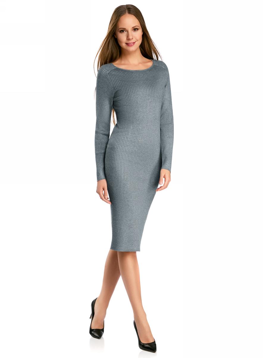 Платье oodji Collection, цвет: серый меланж. 73912207-2B/45647/2300M. Размер XXL (52)73912207-2B/45647/2300MВязаное платье в рубчик от oodji выполнено из вискозной пряжи с добавлением полиамида. Модель длины миди с длинными рукавами и круглым вырезом горловины.
