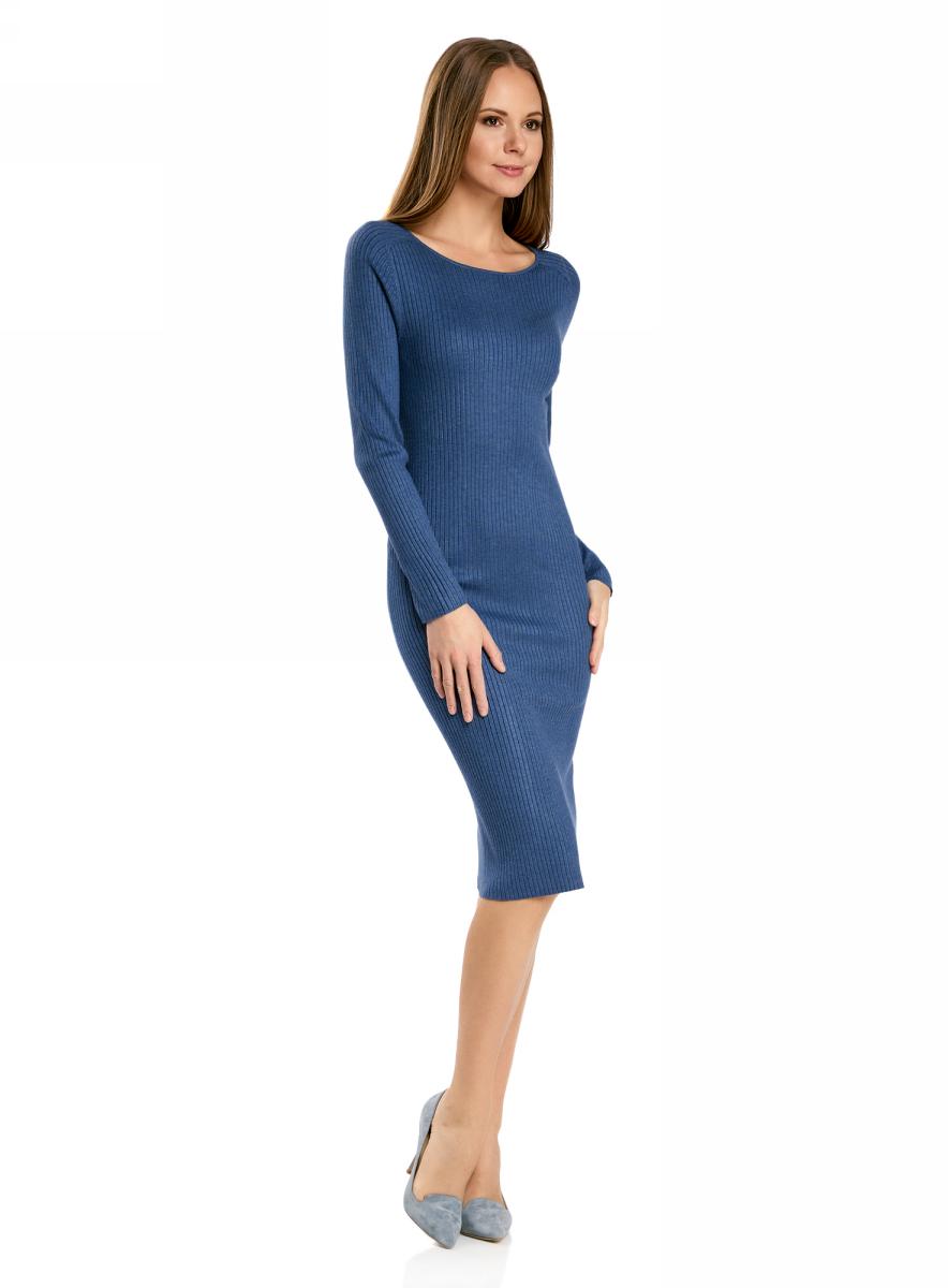 Платье oodji Collection, цвет: синий меланж. 73912207-2B/45647/7500M. Размер XL (50)73912207-2B/45647/7500MВязаное платье в рубчик от oodji выполнено из вискозной пряжи с добавлением полиамида. Модель длины миди с длинными рукавами и круглым вырезом горловины.
