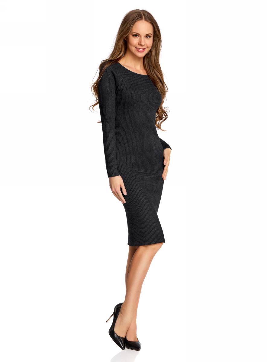 Платье oodji Collection, цвет: темно-серый меланж. 73912207-2B/45647/2500M. Размер L (48)73912207-2B/45647/2500MВязаное платье в рубчик от oodji выполнено из вискозной пряжи с добавлением полиамида. Модель длины миди с длинными рукавами и круглым вырезом горловины.