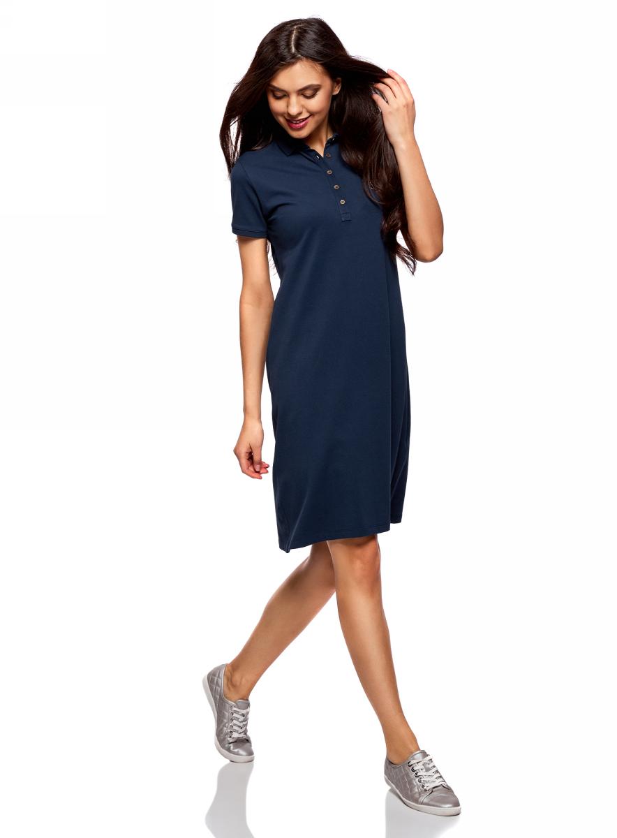 Платье жен oodji Collection, цвет: темно-синий. 24001118-1/47005/7900N. Размер L (48)24001118-1/47005/7900NПлатье поло из ткани пике