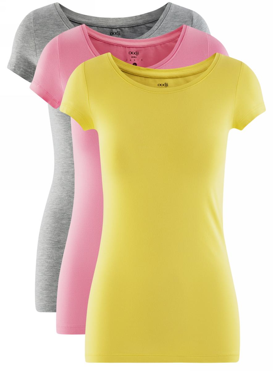 Футболка женская oodji Ultra, цвет: серый, желтый, розовый, 3 шт. 14701005T3/46147/19LRN. Размер L (48)14701005T3/46147/19LRNЖенская футболка oodji Ultra выполнена из эластичного хлопка. Модель с круглым вырезом горловины и короткими рукавами. В комплект входят три футболки.