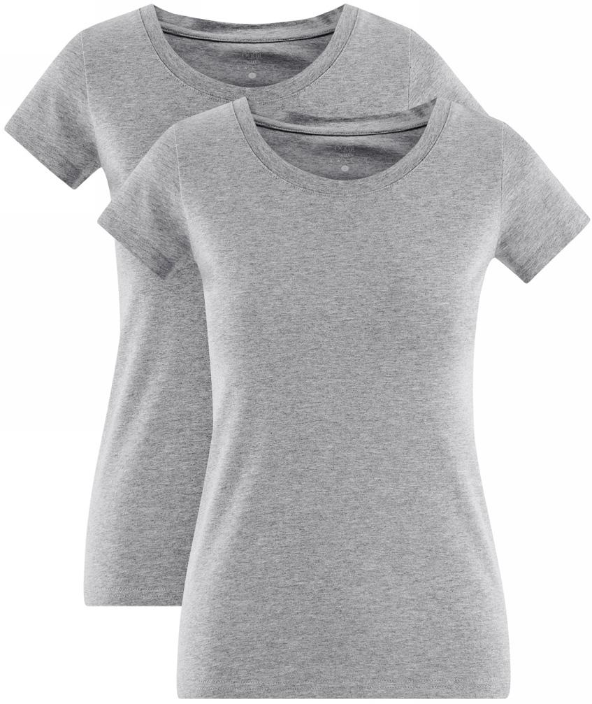 Футболка женская oodji Ultra, цвет: светло-серый меланж, 2 шт. 14701008-14T2/47554/2000M. Размер L (48)14701008-14T2/47554/2000MФутболка женская oodji изготовлена из качественной смесовой ткани. Приталенная модель с круглой горловиной и короткими рукавами. В комплекте 2 футболки.
