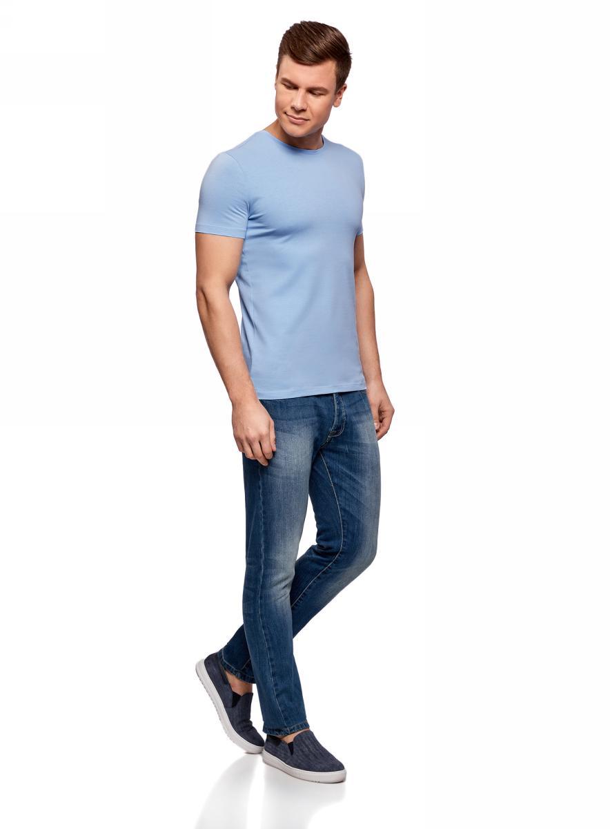 Футболка мужская oodji Basic, цвет: голубой. 5B611004M/46737N/7001N. Размер XL (56)5B611004M/46737N/7001NМужская базовая футболка от oodji выполнена из эластичного хлопкового трикотажа. Модель с короткими рукавами и круглым вырезом горловины.
