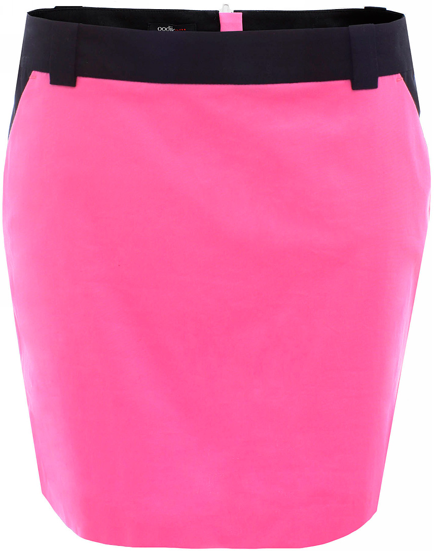 Юбка oodji Ultra, цвет: ярко-розовый, черный. 11602155-2/19887/4D29B. Размер 38-170 (44-170)11602155-2/19887/4D29BУльтрамодная мини-юбка выполнена из высококачественного материала контрастного цвета. По бокам юбка дополнена карманами. Сзади модель застегивается на застежку-молнию. Имеются шлевки для ремня.