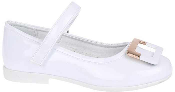 Туфли для девочки Сказка, цвет: белый. R201322701. Размер 27R201322701Прелестные туфли от бренда Сказка придутся по душе вашей юной моднице! Модель изготовлена из комбинации натуральной и искусственной кожи. Мыс туфель оформлен стильной пряжкой. Ремешок с застежкой-липучкой отвечает за надежную фиксацию модели на ноге. Внутренняя поверхность из натуральной кожи не натирает. Стелька из материала ЭВА с поверхностью из натуральной кожи дополнена супинатором, который обеспечивает правильное положение ноги ребенка при ходьбе, предотвращает плоскостопие. Подошва с рифлением обеспечивает идеальное сцепление с любыми поверхностями. Стильные туфли - незаменимая вещь в гардеробе каждой девочки.