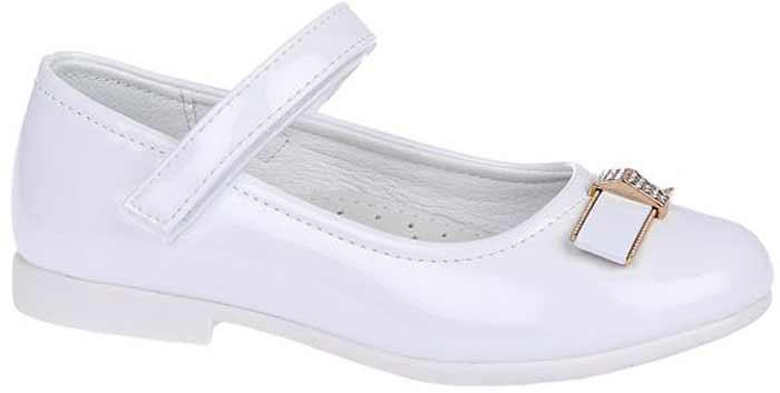 Туфли для девочки Сказка, цвет: белый. R201322702. Размер 27R201322702Прелестные туфли от бренда Сказка придутся по душе вашей юной моднице! Модель изготовлена из комбинации натуральной и искусственной кожи. Мыс туфель оформлен бантом со стильной фурнитурой. Ремешок с застежкой-липучкой отвечает за надежную фиксацию модели на ноге. Внутренняя поверхность из натуральной кожи не натирает. Стелька из материала ЭВА с поверхностью из натуральной кожи дополнена супинатором, который обеспечивает правильное положение ноги ребенка при ходьбе, предотвращает плоскостопие. Подошва с рифлением обеспечивает идеальное сцепление с любыми поверхностями. Стильные туфли - незаменимая вещь в гардеробе каждой девочки.