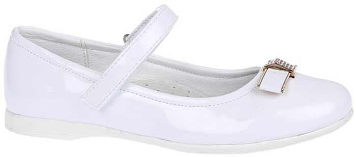 Туфли для девочки Сказка, цвет: белый. R323023217. Размер 33R323023217Прелестные туфли от бренда Сказка придутся по душе вашей юной моднице! Модель изготовлена из комбинации натуральной и искусственной кожи. Мыс туфель оформлен бантом со стильной фурнитурой. Ремешок с застежкой-липучкой отвечает за надежную фиксацию модели на ноге. Внутренняя поверхность из натуральной кожи не натирает. Стелька из материала ЭВА с поверхностью из натуральной кожи дополнена супинатором, который обеспечивает правильное положение ноги ребенка при ходьбе, предотвращает плоскостопие. Подошва с рифлением обеспечивает идеальное сцепление с любыми поверхностями. Стильные туфли - незаменимая вещь в гардеробе каждой девочки.