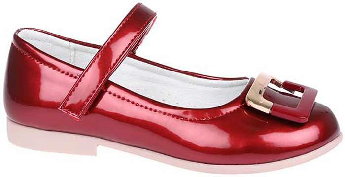 Туфли для девочки Сказка, цвет: красный. R201322701. Размер 28R201322701Прелестные туфли от бренда Сказка придутся по душе вашей юной моднице! Модель изготовлена из комбинации натуральной и искусственной кожи. Мыс туфель оформлен стильной пряжкой. Ремешок с застежкой-липучкой отвечает за надежную фиксацию модели на ноге. Внутренняя поверхность из натуральной кожи не натирает. Стелька из материала ЭВА с поверхностью из натуральной кожи дополнена супинатором, который обеспечивает правильное положение ноги ребенка при ходьбе, предотвращает плоскостопие. Подошва с рифлением обеспечивает идеальное сцепление с любыми поверхностями. Стильные туфли - незаменимая вещь в гардеробе каждой девочки.