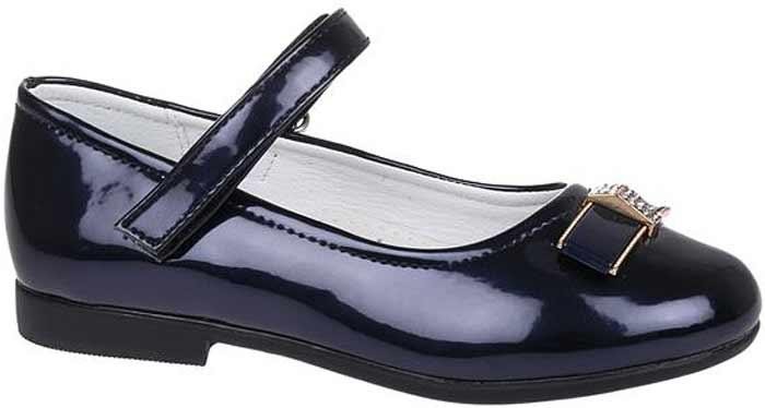 Туфли для девочки Сказка, цвет: темно-синий. R201322702. Размер 30R201322702Прелестные туфли от бренда Сказка придутся по душе вашей юной моднице! Модель изготовлена из комбинации натуральной и искусственной кожи. Мыс туфель оформлен бантом со стильной фурнитурой. Ремешок с застежкой-липучкой отвечает за надежную фиксацию модели на ноге. Внутренняя поверхность из натуральной кожи не натирает. Стелька из материала ЭВА с поверхностью из натуральной кожи дополнена супинатором, который обеспечивает правильное положение ноги ребенка при ходьбе, предотвращает плоскостопие. Подошва с рифлением обеспечивает идеальное сцепление с любыми поверхностями. Стильные туфли - незаменимая вещь в гардеробе каждой девочки.