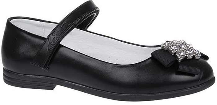 Туфли для девочки Сказка, цвет: черный матовый. R209023202. Размер 34R209023202Прелестные туфли от бренда Сказка придутся по душе вашей юной моднице! Модель изготовлена из комбинации натуральной и искусственной кожи. Мыс туфель оформлен текстильным бантом со стильной фурнитурой. Ремешок с застежкой-липучкой отвечает за надежную фиксацию модели на ноге. Внутренняя поверхность из натуральной кожи не натирает. Стелька из материала ЭВА с поверхностью из натуральной кожи дополнена супинатором, который обеспечивает правильное положение ноги ребенка при ходьбе, предотвращает плоскостопие. Подошва с рифлением обеспечивает идеальное сцепление с любыми поверхностями. Стильные туфли - незаменимая вещь в гардеробе каждой девочки.