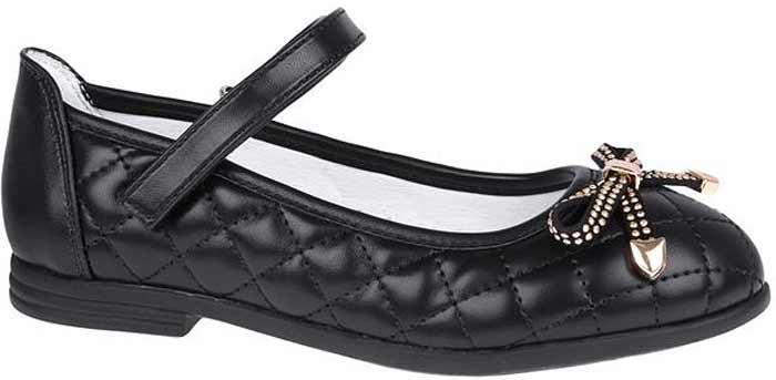 Туфли для девочки Сказка, цвет: черный. R209023203. Размер 31R209023203Прелестные туфли от бренда Сказка придутся по душе вашей юной моднице! Модель изготовлена из комбинации натуральной и искусственной кожи и оформлена стеганой прострочкой. Мыс туфель декорирован бантом со стразами. Ремешок с застежкой-липучкой отвечает за надежную фиксацию модели на ноге. Внутренняя поверхность из натуральной кожи не натирает. Стелька из материала ЭВА с поверхностью из натуральной кожи дополнена супинатором, который обеспечивает правильное положение ноги ребенка при ходьбе, предотвращает плоскостопие. Подошва с рифлением обеспечивает идеальное сцепление с любыми поверхностями. Стильные туфли - незаменимая вещь в гардеробе каждой девочки.