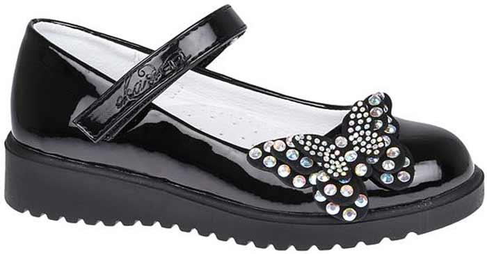 Туфли для девочки Сказка, цвет: черный. R856922716. Размер 26R856922716Прелестные туфли от бренда Сказка придутся по душе вашей юной моднице! Модель изготовлена из комбинации натуральной и искусственной лаковой кожи. Мыс туфель декорирован аппликацией в виде бабочки со стразами. Ремешок с застежкой-липучкой отвечает за надежную фиксацию модели на ноге. Внутренняя поверхность из натуральной кожи не натирает. Стелька из материала ЭВА с поверхностью из натуральной кожи дополнена супинатором, который обеспечивает правильное положение ноги ребенка при ходьбе, предотвращает плоскостопие. Подошва с рифлением обеспечивает идеальное сцепление с любыми поверхностями. Стильные туфли - незаменимая вещь в гардеробе каждой девочки.