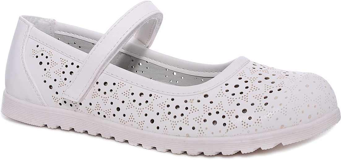 Туфли для девочки Мифер, цвет: белый. 7213A-6. Размер 357213A-6Прелестные туфли от бренда Мифер придутся по душе вашей юной моднице! Модель изготовлена из искусственной кожи и оформлена декоративной перфорацией. Ремешок с застежкой-липучкой отвечает за надежную фиксацию модели на ноге. Внутренняя поверхность из натуральной кожи не натирает. Стелька из кожи дарит комфорт при носке. Подошва с рифлением обеспечивает идеальное сцепление с любыми поверхностями. Стильные туфли - незаменимая вещь в гардеробе каждой девочки.