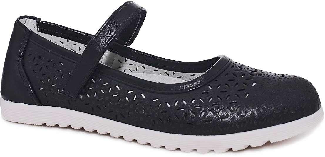 Туфли для девочки Мифер, цвет: черный. 7213D-1. Размер 337213D-1Прелестные туфли от бренда Мифер придутся по душе вашей юной моднице! Модель изготовлена из искусственной кожи и оформлена декоративной перфорацией. Ремешок с застежкой-липучкой отвечает за надежную фиксацию модели на ноге. Внутренняя поверхность из натуральной кожи не натирает. Стелька из кожи дарит комфорт при носке. Подошва с рифлением обеспечивает идеальное сцепление с любыми поверхностями. Стильные туфли - незаменимая вещь в гардеробе каждой девочки.