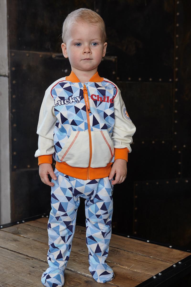 Кофта для мальчика Lucky Child Умка, цвет: голубой, синий. 32-18ф. Размер 56/6232-18фПредставляем модель из коллекции 2017 года «Умка». В ней есть всё, что нужно для маленького мальчика: мягкий и тёплый футер, два кармана, широкие манжеты, свежий модный дизайн.