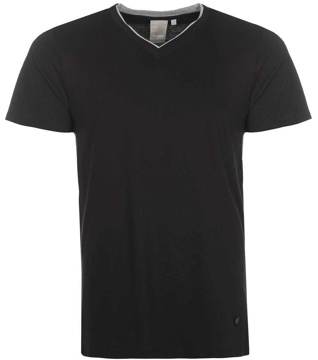 Футболка мужская Icepeak, цвет: черный. 757725514IVT_990. Размер L (52)757725514IVT_990Мужская футболка Icepeak изготовлена из натурального хлопка. Модель прямого кроя выполнена с V-образной горловиной и короткими рукавами.