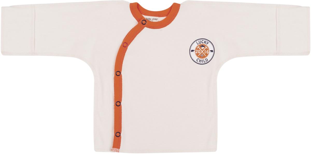 Распашонка для мальчика Lucky Child, цвет: молочный. 32-7. Размер 50/5632-7Распашонка Lucky Child для мальчика выполнена из натурального хлопка. Модель с длинными рукавами и круглым вырезом горловины застегивается на удобные кнопки.