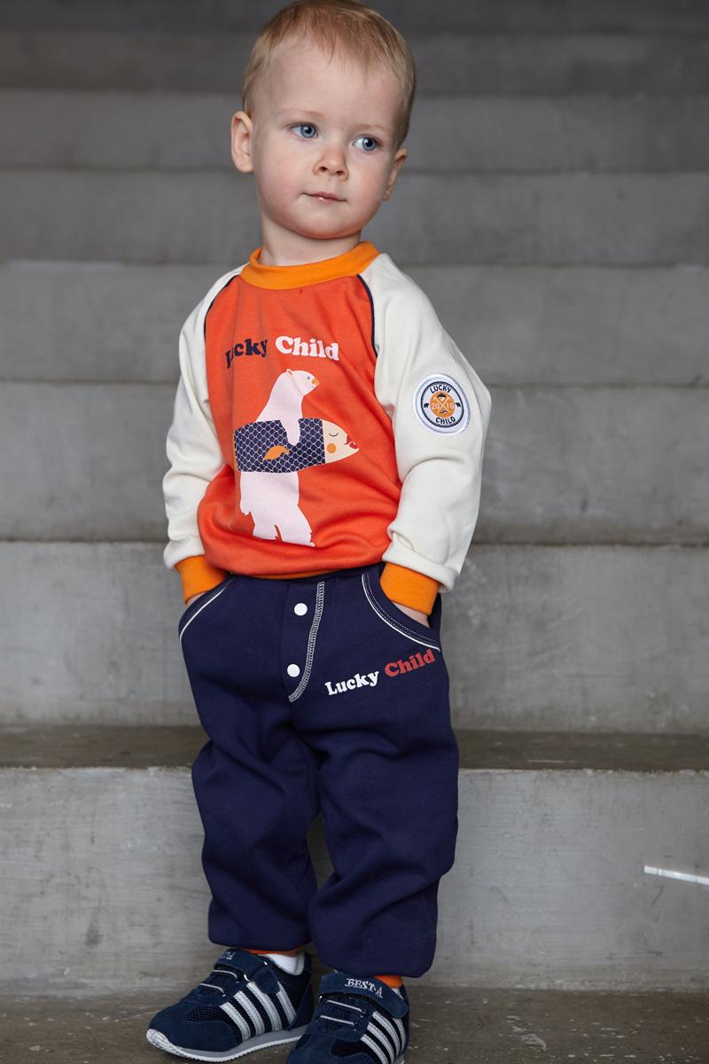 Штанишки для мальчика Lucky Child, цвет: синий. 32-11. Размер 80/8632-11Эти штанишки для мальчиков — воплощение стиля и самых модных тенденций. Яркие цвета и принты, втачные карманы, гульфик-обманка, широкие резинки на талии и ножках.
