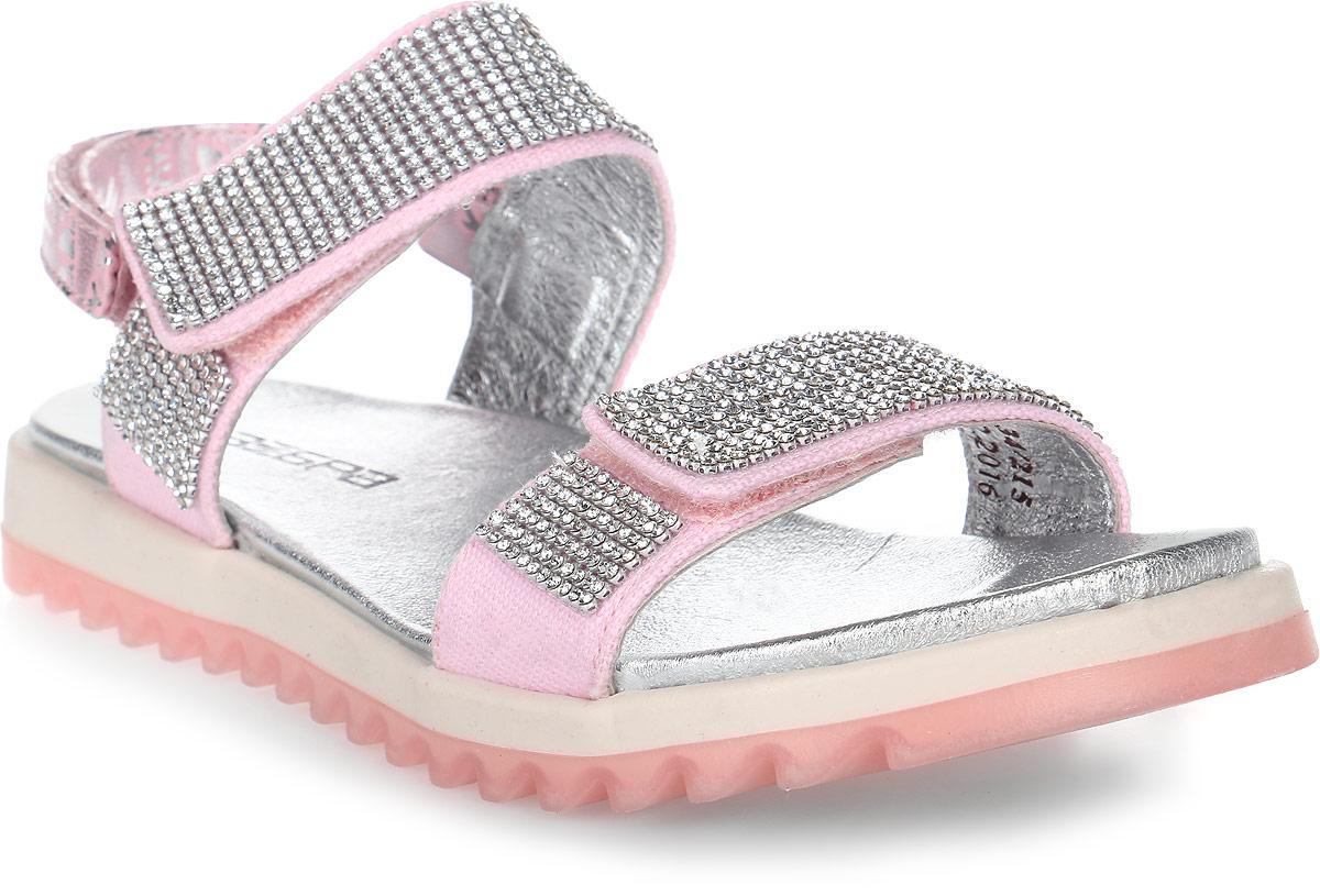 Сандалии для девочки Зебра, цвет: розовый. 11717-9. Размер 3311717-9Замечательные сандалии от Зебра, выполненные из текстиля, придутся по душе вашей девочке. Подкладка и стелька выполнены из натуральной кожи, что предотвращает натирание и гарантирует уют. Ремешки с застежками-липучками позволяют прочно зафиксировать ножку ребенка. Сандалии декорированы стразами.