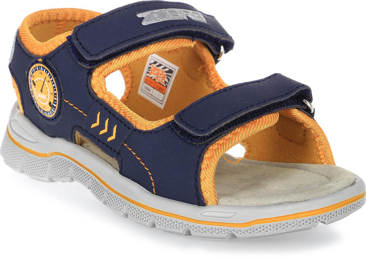 Сандалии для мальчика Зебра, цвет: синий. 10334-5. Размер 3010334-5Сандалии от Зебра выполнены из комбинации искусственной кожи и текстиля. Ремешки на застежках-липучках на подъеме обеспечивают оптимальную посадку обуви на ноге, не давая ей смещаться из стороны в сторону и назад. Ярлычок на заднике предназначен для удобства обувания. Инновационная профилированная стелька способствует правильному формированию скелета и анатомических сводов детской стопы, правильной установке пятке ребенка, уменьшает ударную нагрузку на стопу, суставы ног и позвоночник.