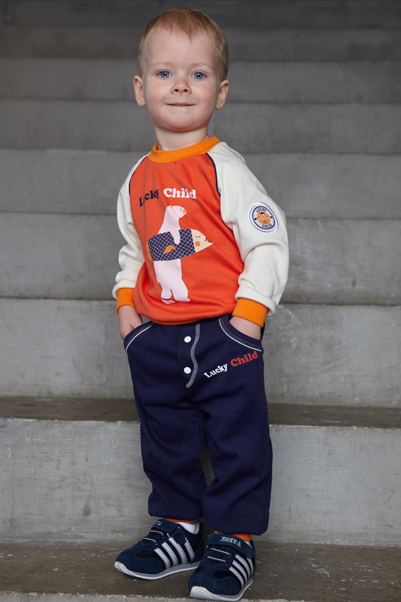Штанишки для мальчика Lucky Child, цвет: синий. 32-11ф. Размер 80/8632-11фШтанишки для мальчика выполнены из натурального хлопка. Мягкая резинка на талии не сдавливает животик малыша. Спереди штанишки оформлены имитацией гульфика.