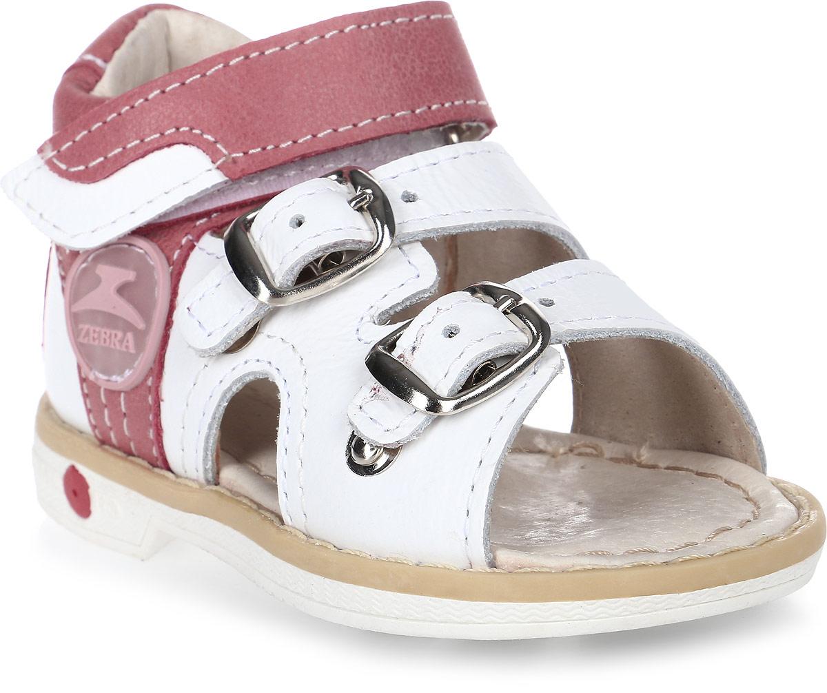 Сандалии для девочки Зебра, цвет: розовый, серый. 11539-9. Размер 2111539-9Сандалии от Зебра выполнены из натуральной кожи. Внутренняя поверхность и стелька из натуральной кожи комфортны при ходьбе. Стелька дополнена супинатором, который обеспечивает правильное положение ноги ребенка при ходьбе и предотвращает плоскостопие. Ремешок с застежкой-липучкой позволяет прочно зафиксировать ножку ребенка. Ортопедический каблук Томаса укрепляет подошву под средней частью стопы и препятствует ее заваливанию внутрь.