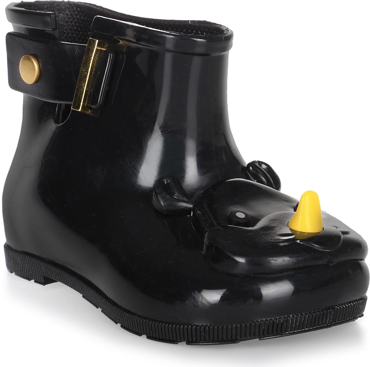 Сапоги резиновые детские Vitacci, цвет: черный. 23001-3. Размер 2423001-3Детские резиновые сапоги от Vitacci - идеальная обувь в дождливую погоду для вашего ребенка. Модель выполнена из силикона и оформлена на носке декоративным элементом в виде головы носорога. Подошва из резины дополнена рифлением.