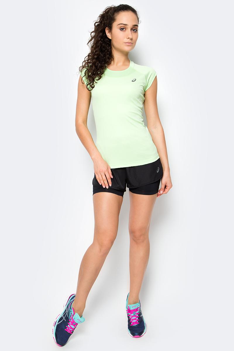 Футболка для бега женская Asics Capsleeve Top, цвет: зеленый. 141646-4025. Размер S (42/44)141646-4025Футболка для бега женская Asics Capsleeve Top выполнена из 100% полиэстера. Модель с круглым вырезом горловины и короткими рукавами.