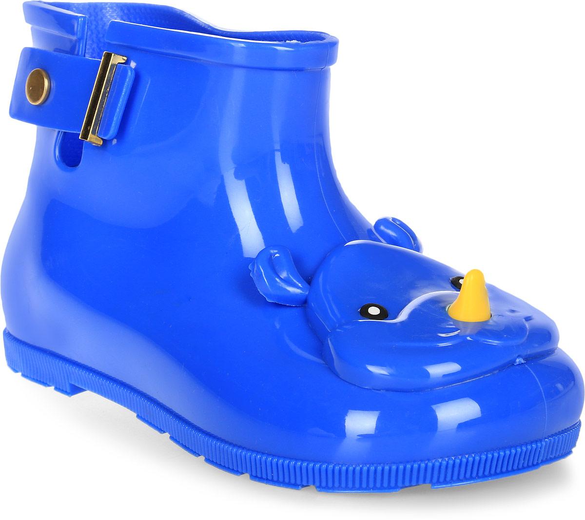 Сапоги резиновые детские Vitacci, цвет: синий. 23001-4. Размер 25/2623001-4Детские резиновые сапоги от Vitacci - идеальная обувь в дождливую погоду для вашего ребенка. Модель выполнена из силикона и оформлена на носке декоративным элементом в виде головы носорога. Подошва из резины дополнена рифлением.