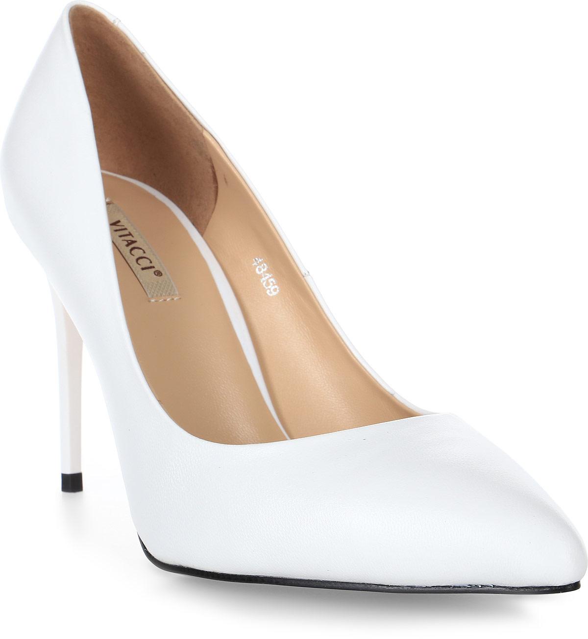 Туфли женские Vitacci, цвет: белый. 48459. Размер 4048459Стильные туфли Vitacci не оставят вас незамеченной! Модель выполнена из качественной натуральной кожи. Стелька из натуральной кожи обеспечивает комфорт и удобство при ходьбе. Подошва выполнена с высоким изящным каблуком.
