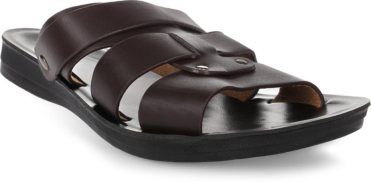 Сандалии мужские Milton, цвет: темно-коричневый. 30586. Размер 4330586Стильные мужские сандалии от Milton выполнены из мягкой искусственной кожи. Сзади на пятки сандалии дополнены ремешком, при необходимости его можно поднять и использовать их как шлепанцы.