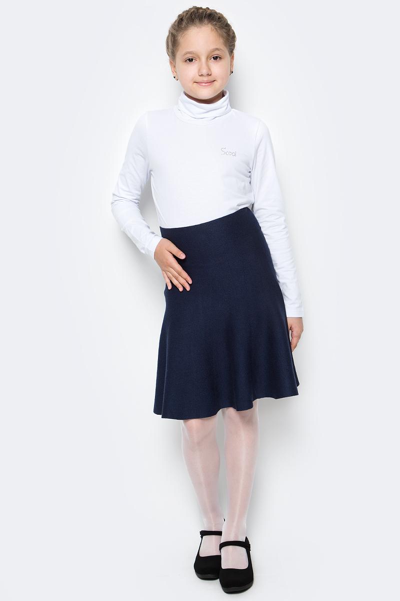 Юбка для девочки Scool, цвет: темно-синий. 374439. Размер 158, 13 лет374439Юбка для девочек Scool изготовлена из мягкой трикотажной ткани. Бесшовная модель с мягкими струящимися складками имеет завышенную линию талии.