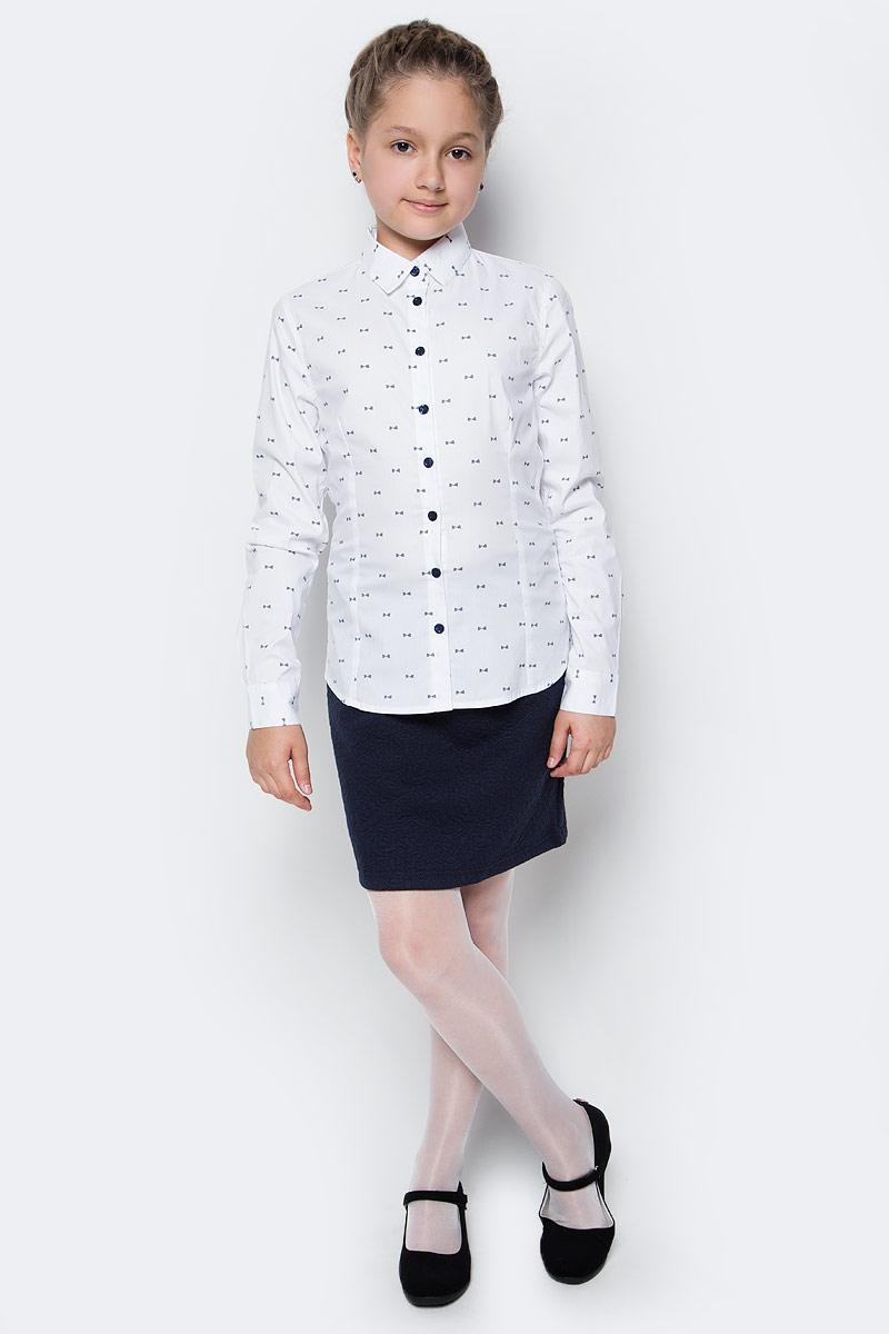 Блузка для девочки Gulliver, цвет: белый. 217GSGC2206. Размер 128217GSGC2206Если вы хотите купить школьную блузку для девочки, не ограничивайте свой выбор исключительно белыми блузками. Красивые блузки для школы могут быть разными! Модные школьные блузки- это блузки в мелкий рисунок! Блузка в бантики, сумочки, горошек - отличный вариант на каждый день! Деликатный мелкий рисунок не нарушает школьного дресс-кода, но создает позитивное настроение. Блузка с рисунком разнообразит школьные будни ученицы и сделает ее образ свежим и выразительным.