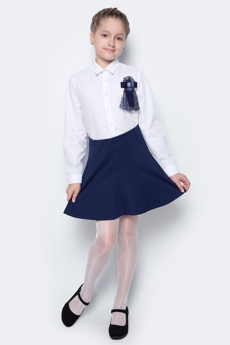 Юбка для девочки Button Blue, цвет: темно-синий. 217BBGS55011000. Размер 140, 10 лет217BBGS55011000Какие юбки для девочеки станут основой школьного гардероба? Те, кто уже носил юбку из плотного трикотажа знают: трикотажные школьные юбки - это удобство и свобода движений. Купить школьную юбку от Button Blue, значит, обеспечить ребенку повседневный комфорт.