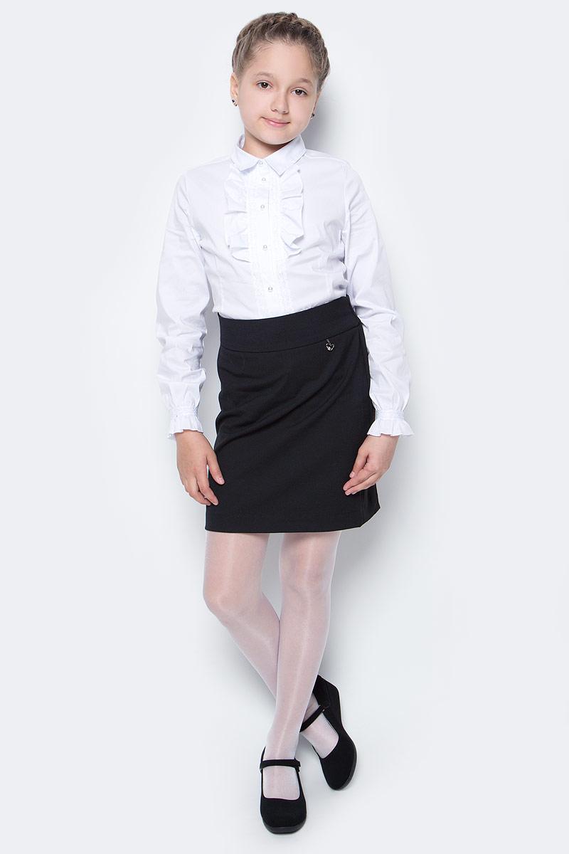 Юбка для девочки Nota Bene, цвет: черный. CWA270P1A21. Размер 128CWA270P1B21/CWA270P1A21Стильная юбка для девочки от Nota Bene выполнена из вискозы и полиэстера с добавлением лайкры. Модель стандартной посадки застегивается на застежку-молнию.
