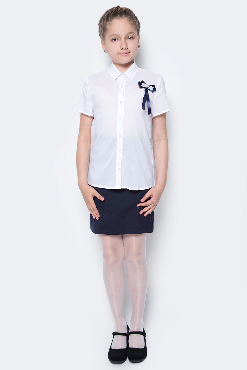 Рубашка для девочки Nota Bene, цвет: белый. CWR27021B01. Размер 158CWR27021B01/CWR27021A01Стильная рубашка для девочки от Nota Bene выполнена из хлопка и полиэстера с добавлением лайкры. Модель с отложным воротником и короткими рукавами застегивается на пуговицы по всей длине.