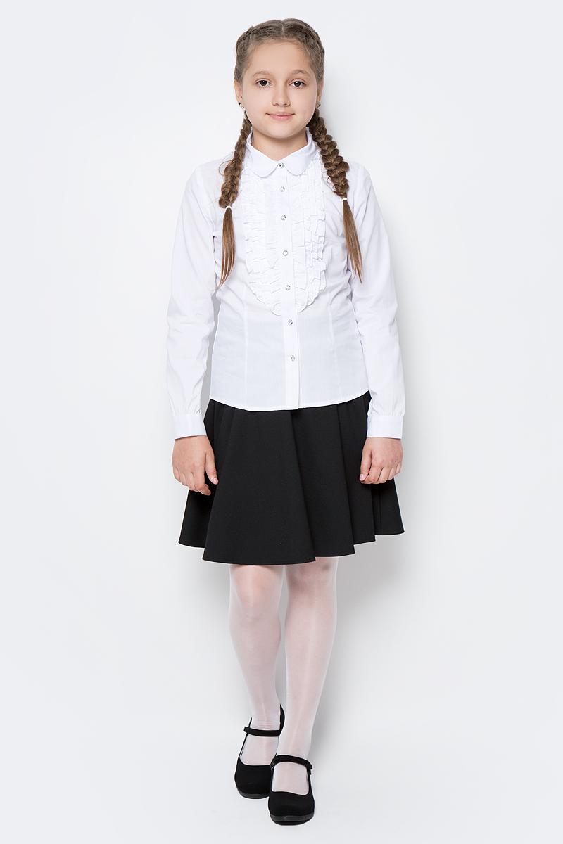 Блузка для девочки Scool, цвет: белый. 374449. Размер 158, 13 лет374449Элегантная блузка для девочки Scool, выполненная из эластичного хлопка с добавлением полиэстера, станет отличным дополнением к школьному гардеробу. Блузка с отложным воротником и длинными рукавами застегивается на пуговицы. На рукавах предусмотрены манжеты. Модель декорирована эффектными пуговицами и оборками на передней части.
